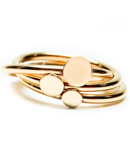 stacking dots ring in brass via Leif